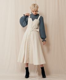 マエボタンフレアラインジャンパースカートオフホワイト