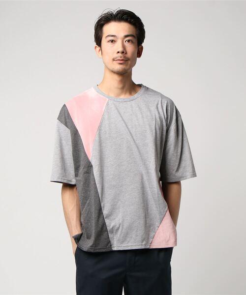 VIBGYOR Select/ ベロア切替TシャツB
