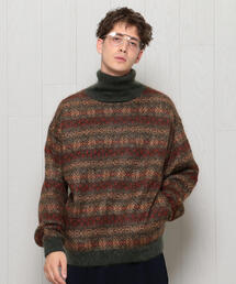 <H>MOHAIR FAIRISLE HIGH NECK KNIT/ニット