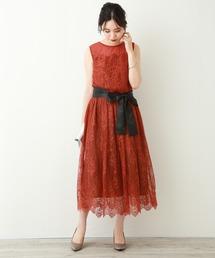 MARLENE JOBERT(マルレーヌ ジョベル)の【結婚式・セレモニー】パーティードレスに♪ ドットレースのロングワンピース(ドレス)