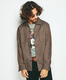 FUCK THE PEOPLE プリント 長袖レギュラーシャツ