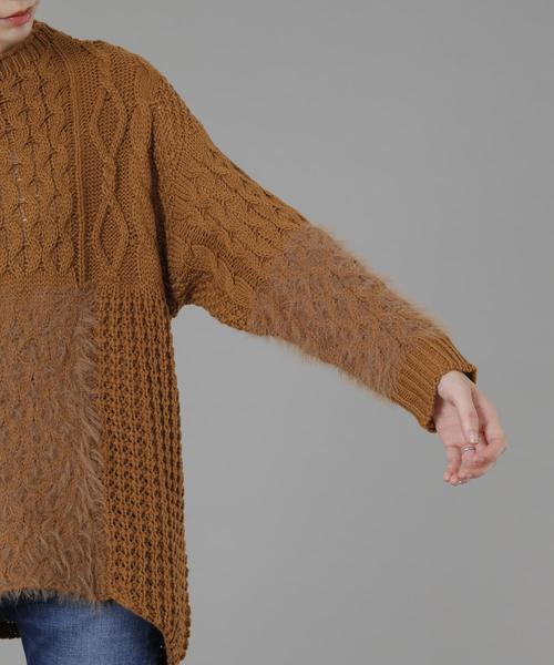 Soffitto/ケーブルパッチワークセーター