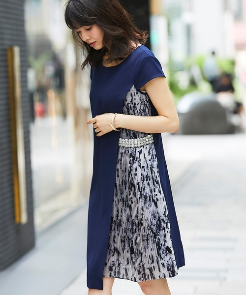 1d8c9fd553bf7 SMILE ORCHID(スマイルオーキッド)のビーズ付きプリーツワンピース(ドレス)