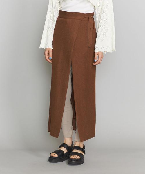 <TAN>SOFTSHINY ラップスカート