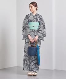 <竺仙(ちくせん)> 笹竹 綿絽白地 浴衣