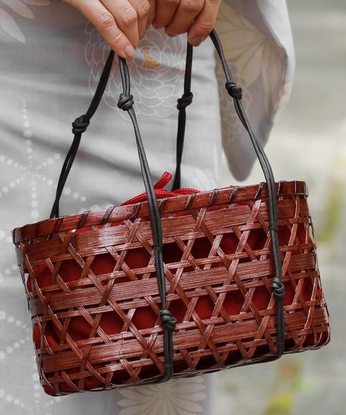 THE CASUAL(カジュアル)の「かごバッグ 浴衣 用 和 トウモロコシ ペーパー 籠バッグ(和装小物)」 レッド
