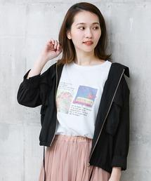 Social GIRL(ソーシャルガール)のリネンライクフロントジップアップフラップポケット7分袖フードシャツアウター(その他アウター)