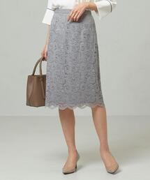 <closet story>□スカラップレース Iラインスカート -手洗い可能-