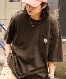 carhartt(カーハート) ビッグシルエット ポケット半袖 ロゴ Tシャツ Workwear Pocket 1/2 Sleeve T-Shirtsダークブラウン