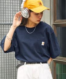 carhartt(カーハート) ビッグシルエット ポケット半袖 ロゴ Tシャツ Workwear Pocket 1/2 Sleeve T-Shirtsネイビー