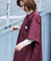 carhartt(カーハート) ビッグシルエット ポケット半袖 ロゴ Tシャツ Workwear Pocket 1/2 Sleeve T-Shirtsワイン