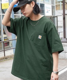 carhartt(カーハート) ビッグシルエット ポケット半袖 ロゴ Tシャツ Workwear Pocket 1/2 Sleeve T-Shirtsグリーン系その他2