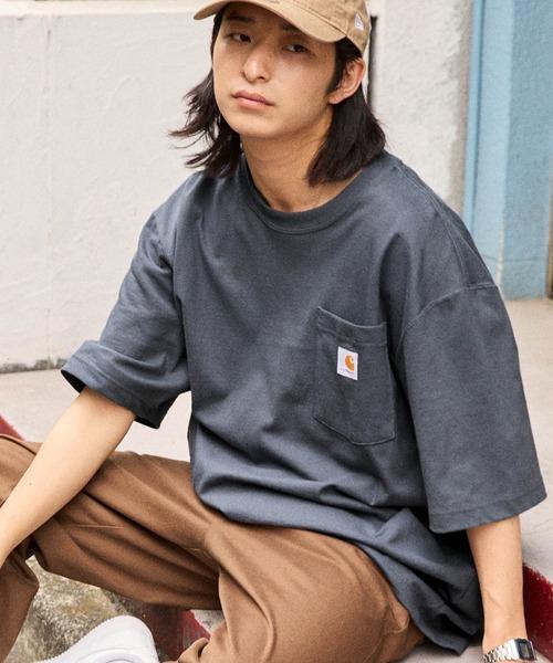 carhartt/カーハート Workwear ビッグシルエット ポケット半袖 ロゴ Tシャツ 無地T トップス