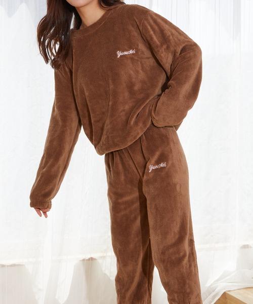 カラフルルームウェア もこもこ あったか ボアフリース セットアップ パジャマ ふわふわ プードル フェイクファー 刺繍 韓国 中国