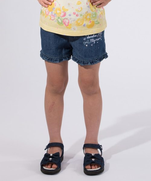 ガールズ 刺繍ワンポイント 裾フリル デニムショートパンツ