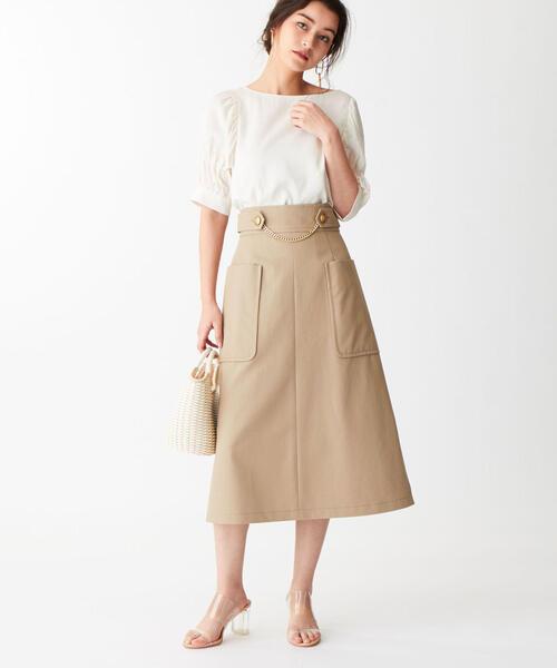 EMMEL REFINES(エメル リファインズ)の「SMF コットンツイル フロントチェーンスカート(スカート)」|ベージュ