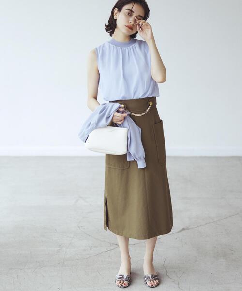 EMMEL REFINES(エメル リファインズ)の「SMF コットンツイル フロントチェーンスカート(スカート)」 オリーブ