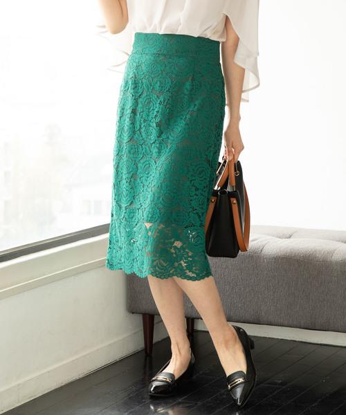ViS(ビス)の「フラワーレースタイトスカート(スカート)」 グリーン