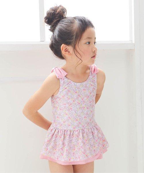 Ampersand(アンパサンド)の「GIRL'S花柄ワンピース水着(水着)」|ピンク