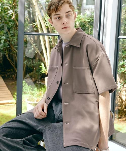TRストレッチ ビッグステッチ オーバーボックス CPO シャツ 1/2 sleeve(EMMA CLOTHES)