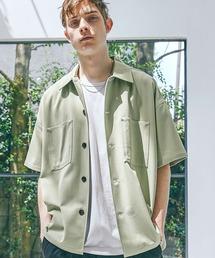 TRストレッチ ビッグステッチ オーバーボックス CPO シャツ 1/2 sleeve(EMMA CLOTHES)グリーン系その他