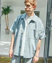 TRストレッチ ビッグステッチ オーバーボックス CPO シャツ 1/2 sleeve(EMMA CLOTHES)ブルー系その他