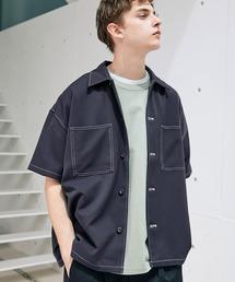 TRストレッチ ビッグステッチ オーバーボックス CPO シャツ 1/2 sleeve(EMMA CLOTHES)ネイビー