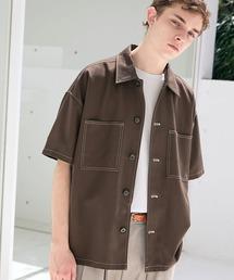 TRストレッチ ビッグステッチ オーバーボックス CPO シャツ 1/2 sleeve(EMMA CLOTHES)ブラウン