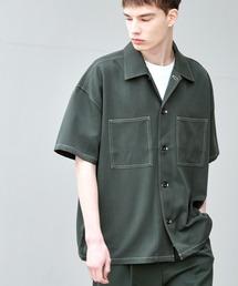 TRストレッチ ビッグステッチ オーバーボックス CPO シャツ 1/2 sleeve(EMMA CLOTHES)グリーン