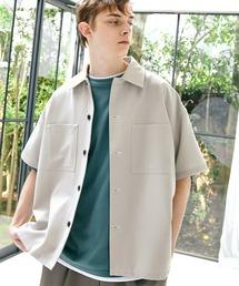 TRストレッチ ビッグステッチ オーバーボックス CPO シャツ 1/2 sleeve(EMMA CLOTHES)ライトグレー