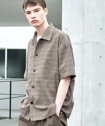 TRストレッチ ビッグステッチ オーバーボックス CPO シャツ 1/2 sleeve(EMMA CLOTHES)ブラウン系その他2