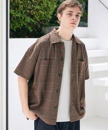 TRストレッチ ビッグステッチ オーバーボックス CPO シャツ 1/2 sleeve(EMMA CLOTHES)ブラウン系その他3