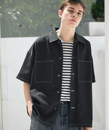 TRストレッチ ビッグステッチ オーバーボックス CPO シャツ 1/2 sleeve(EMMA CLOTHES)ブラック
