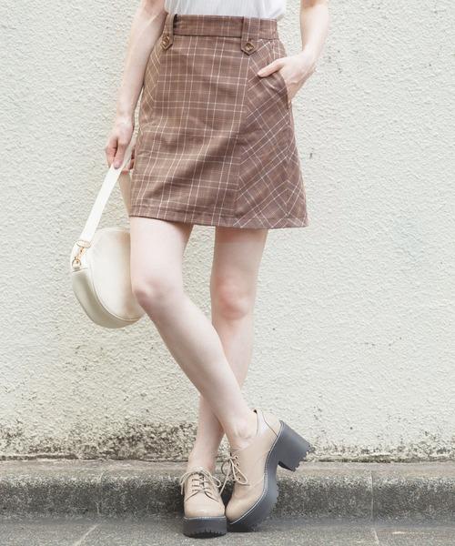 Heather(ヘザー)の「チェックリバーシブルミニスカート 853292(スカート)」|ピンク系その他