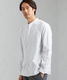 SC ナチュラルフィットオックス バンドカラー LS シャツ