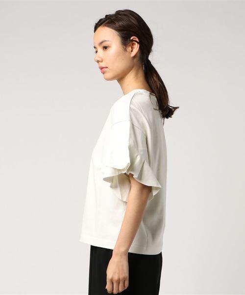 袖重ねフリル5分袖Tシャツ