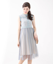 BLUEEAST(ブルーイースト)のハイネックラメレースxチュール切替パーティードレス・結婚式ワンピース(ドレス)