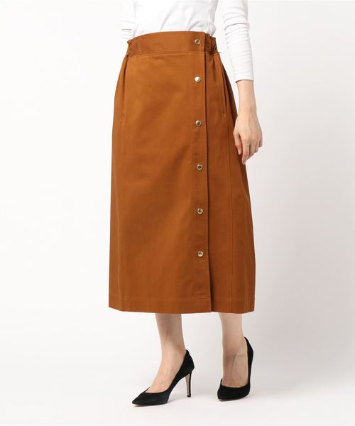 SIDE BUTTON GATHERED SKIRT