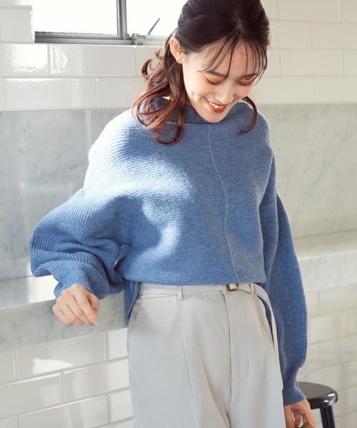 ViS(ビス)の「【マシンウォッシャブル】ピンタックガーター編みプルオーバー(ニット/セーター)」 ブルー
