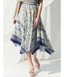 MERCURYDUO(マーキュリーデュオ)のスカーフ柄イレヘムスカート(スカート)