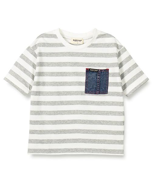 デニムポケットボーダー半袖Tシャツ