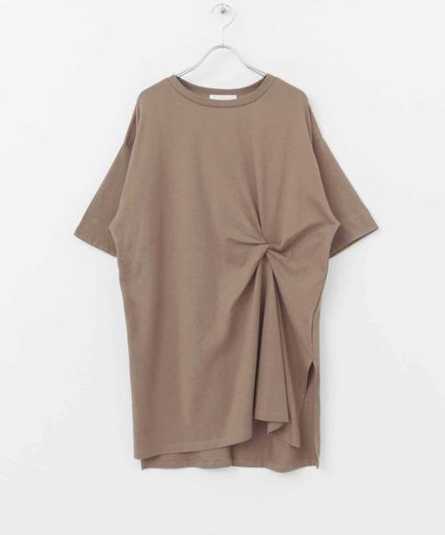 SENSE OF PLACE by URBAN RESEARCH(センスオブプレイスバイアーバンリサーチ)の「ツイストチュニックTシャツ(5分袖)(Tシャツ/カットソー)」|モカ