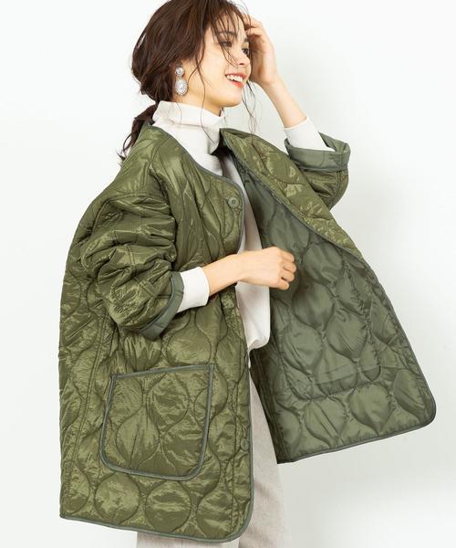 【WEB限定色⇒ブラック】キルティングビッグジャケット(コート/アウター/中綿)