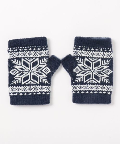 LBC(エルビーシー)の「プレミアムシュー雪柄指なし手袋(手袋)」|ネイビー