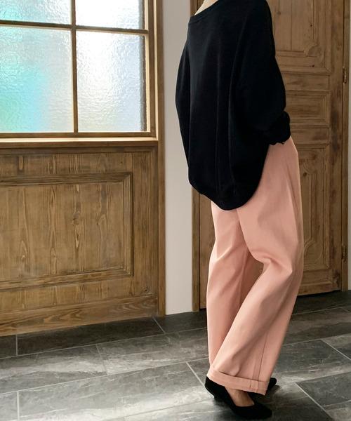 JUNOAH(ジュノア)の「ウエストゴムツイルワイドパンツ(その他パンツ)」|ピンク