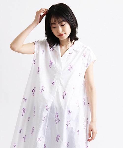 ∴【 ne Quittez pas / ヌキテパ 】POPLIN FLOWER EMB SLEEVELESS DRESS