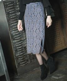 Andemiu(アンデミュウ)のミディレースタイトスカート818774(スカート)