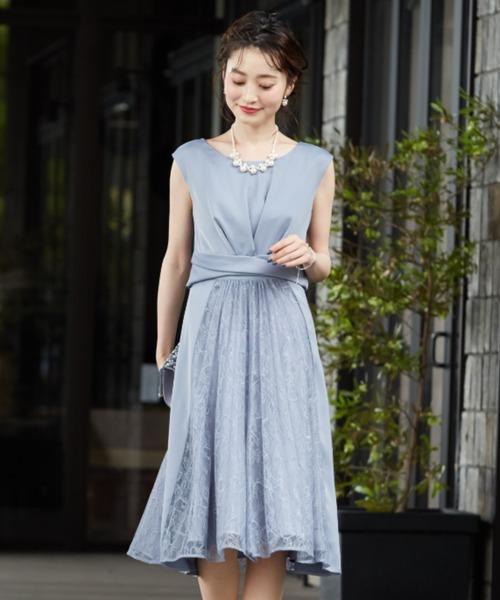 Dorry Doll(ドリードール)の「サテン&レース切り替えスカートフィットアンドフレアードレス(ドレス)」 ブルー系その他