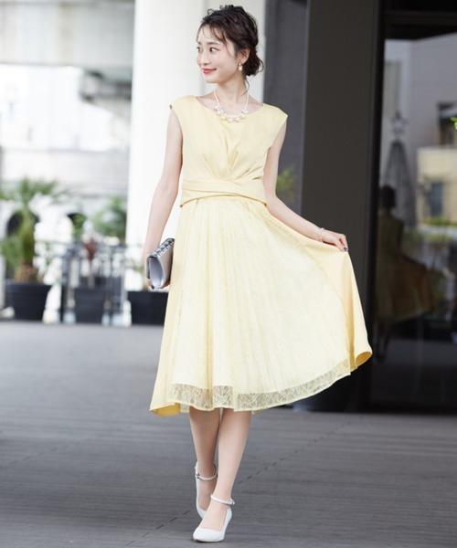 Dorry Doll(ドリードール)の「サテン&レース切り替えスカートフィットアンドフレアードレス(ドレス)」 イエロー