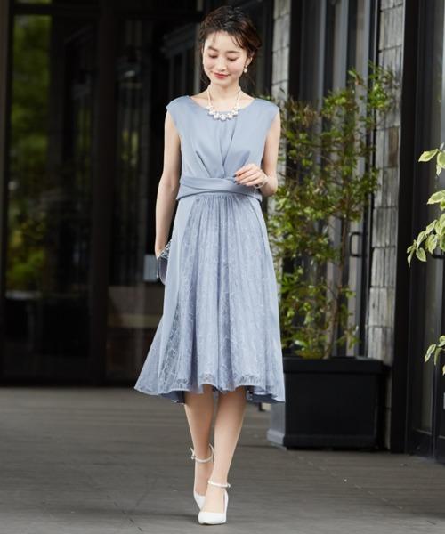 Dorry Doll(ドリードール)の「サテン&レース切り替えスカートフィットアンドフレアードレス(ドレス)」 詳細画像